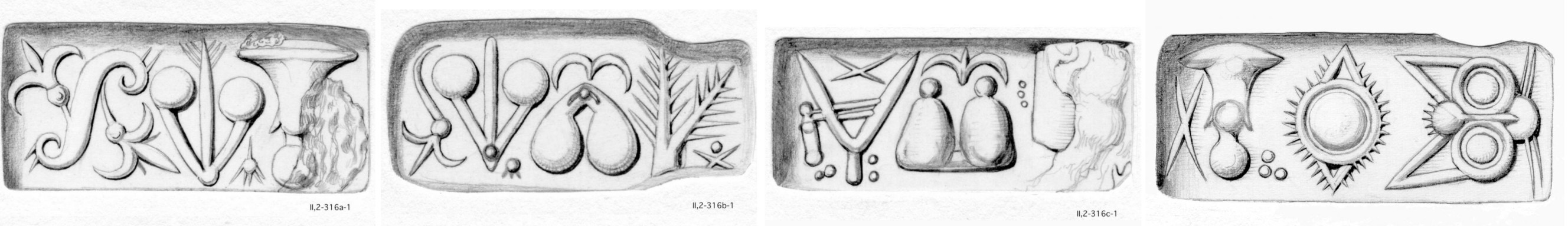 Fig. 5: The four sides of CMS                            II,2 316 with Cretan hieroglyphs: CHIC 044, 049 | CHIC X, 029, 077, 049 |                            CHIC X, 057, 034, 056? | CHIC X, 044, 005. [Graphic by courtesy of the CMS Heidelberg.]