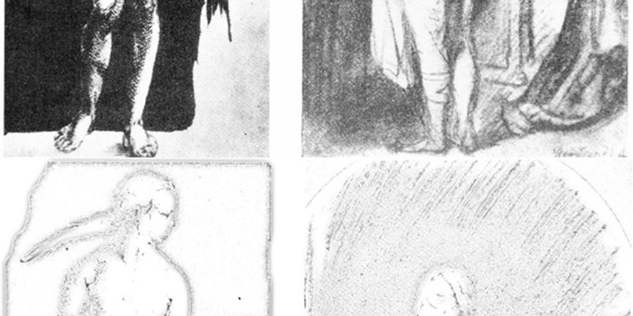 Abb. 4: Gegenüberstellung von zwei                                Frauenakten. Aus: Heinrich Wölfflin: Kunstgeschichtliche                                Grundbegriffe. München 1915, S. 36/37 (oben); Subtraktion einer                                weichgezeichneten Version der obigen Abbildungen von eben diesen                                Abbildungen. In: Stefan Heidenreich: Form und Filter - Algorithmen                                der Bilderverarbeitung und Stilanalyse. Zeitenblicke 2 (2003), Nr. 1                                (unten). Quelle: © Zeitenblicke, 2003.