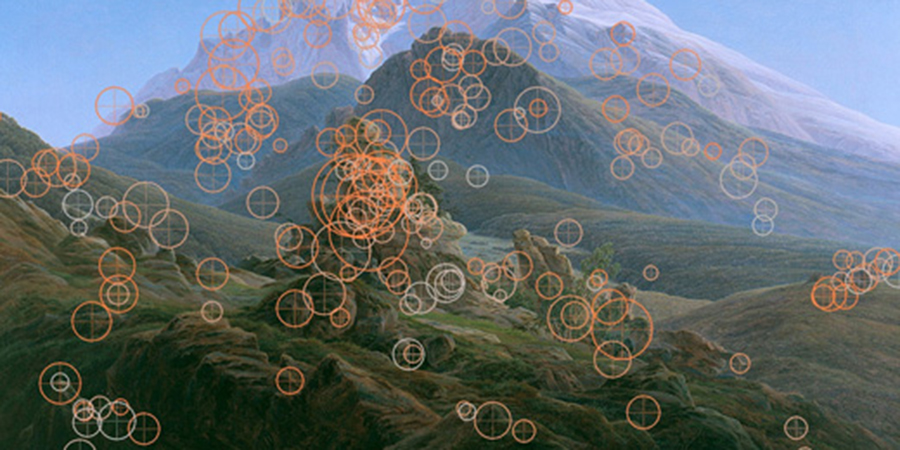 Abb. 6: Visualisierung einer                                Blickanalyse. Quelle: Zwischen Kunst und Alltag (Interview mit                                Helmut Leder und Raphael Rosenberg). © Labor für empirische                                Bildwissenschaft, Universität Wien, 2012.