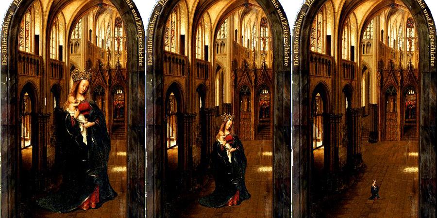Abb. 8: Eyck. CD:                                Manipulierte Reproduktion Die Madonna in der                                    Kirche © Gemäldegalerie, Staatliche Museen zu Berlin auf                                der Grundlage von Abb. 7. CC BY-NC-SA 3.0.