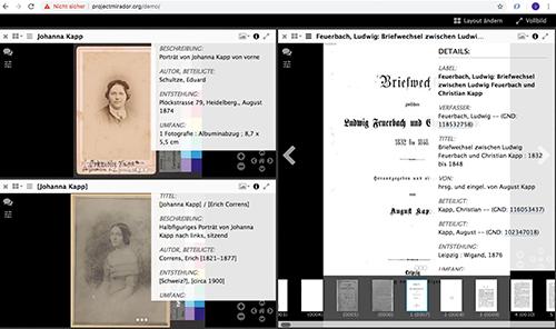 Abb. 12: Mirador-Viewer: Kompilation von zwei                            Sammlungsobjekten der ZB Zürich (GKN 434 und GKN 435 b) und einem Buch                            der BSB (Epist. 274 k) und ihren Metadaten. [Mertens 2021]