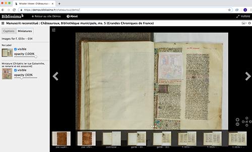 Abb. 13: Virtuelle Rekonstruktion einer                            beschädigten Handschrift in Châteauroux, Frankreich (MS 5, Grandes                            Chroniques de France, ca. 1460) [Biblissima 2020]