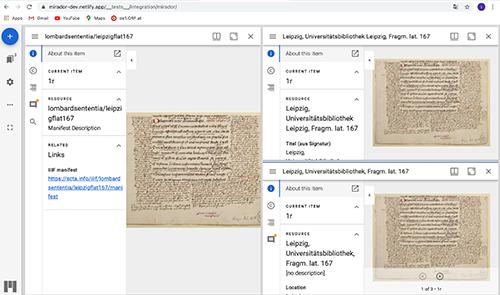 Abb. 14: Kompilation von drei                            unterschiedlichen IIIF-Manifesten desselben Handschriftenfragments im                            Mirador-Viewer. [Mertens 2021]