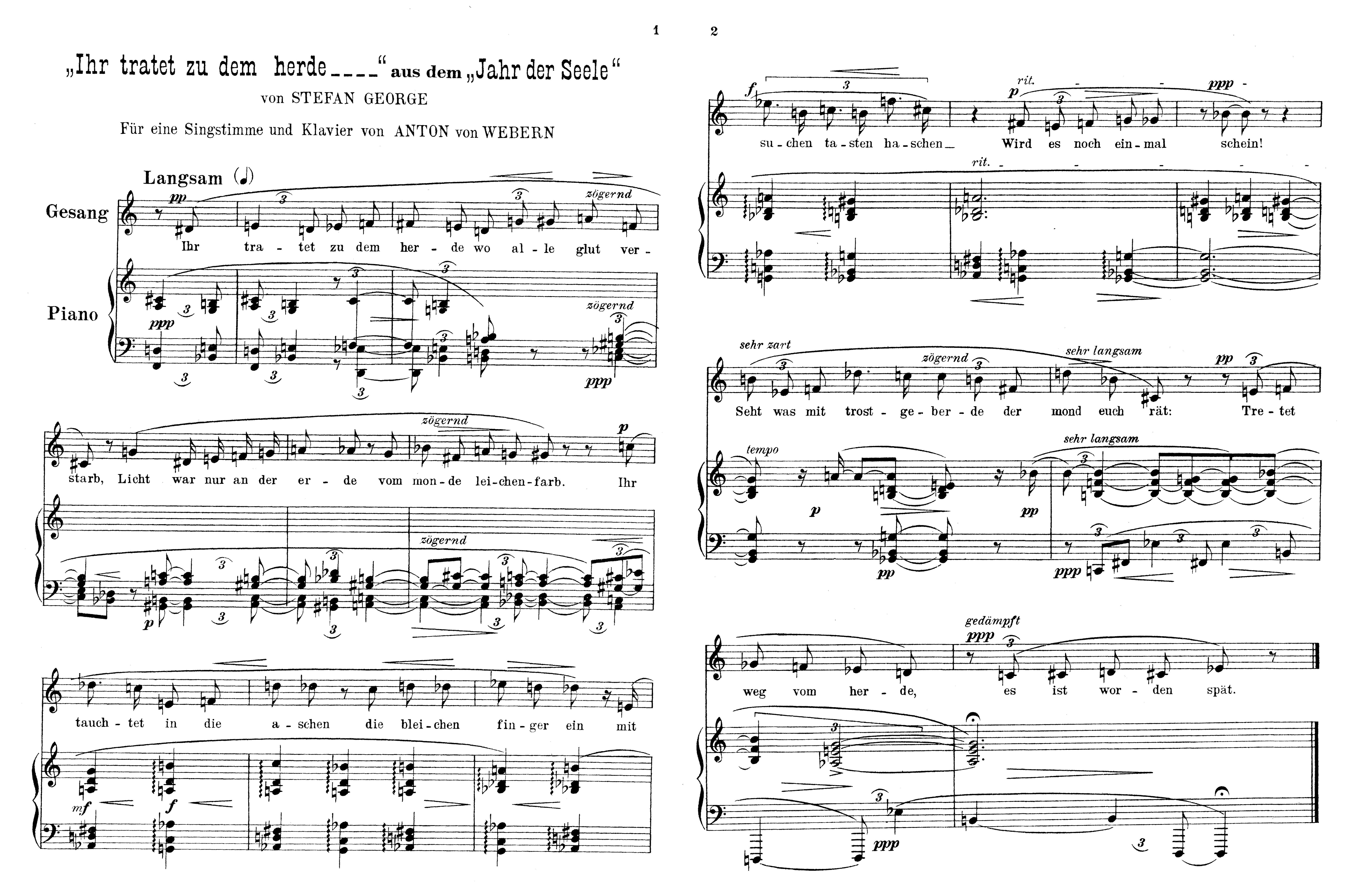 Abb. 3: Abdruck von                                     Anton Weberns George-Vertonung »Ihr tratet zu dem Herde« als                                     Beilage in: Der Blaue Reiter.  Kandinsky / Marc 1976                                         (1912). [Public Domain Marked.]