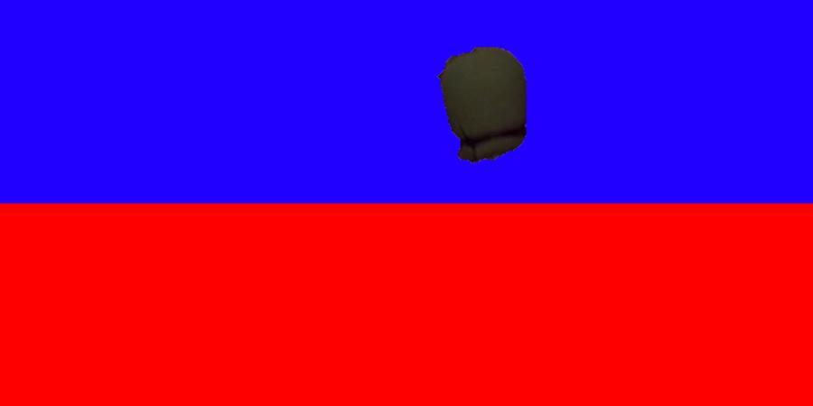 Abb. 9: Das Mikrofon aus Abbildung 8, isoliert                            in einer blauen und in einer roten Umgebung.