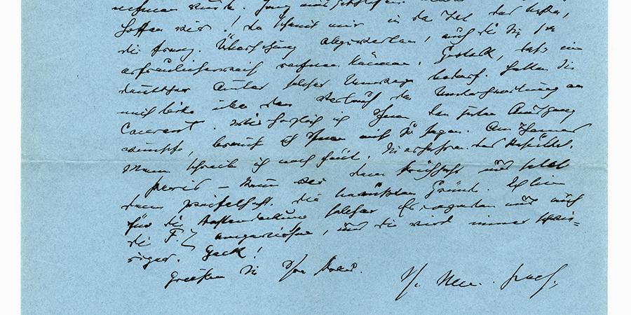 Abb.2: Faksimile eines Briefes von Julius Meier-Graefe an Siegfried Kracauer vom                         16.11.1934. ©Deutsches Literaturarchiv Marbach.