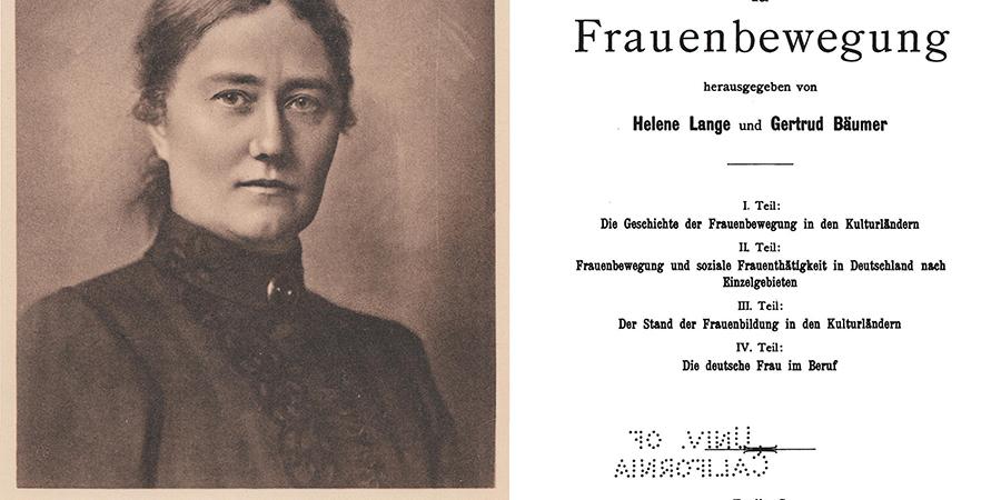 Abb. 1: Helene Lange, Frontispiz, aus:                                Lange 1928, Bd. 1 (links); Handbuch der                                    Frauenbewegung, Titelblatt, aus: Lange/Bäumer 1901–1906,                                Bd. 4 [online] (rechts).