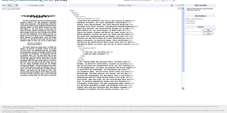 Abb. 4: Arbeitsumgebung im DTA/DTAQ                                    (Deutsches Textarchiv, Qualitätssicherung) (Screenshot: Thomas                                    Gloning).