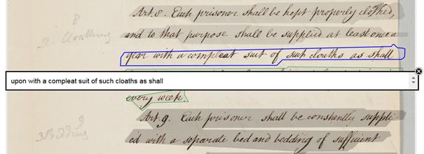 Abb.1: Beispiel einer HTR Erkennung aus                                dem Projekt transkribus.eu. Bei dem hier angezeigten Bild handelt es                                sich um ein wissenschaftliches Zitat nach §51 UrhG. Es darf nur in                                diesem Sinne verwendet werden; etwaige Urheberrechte sind zu                                beachten.