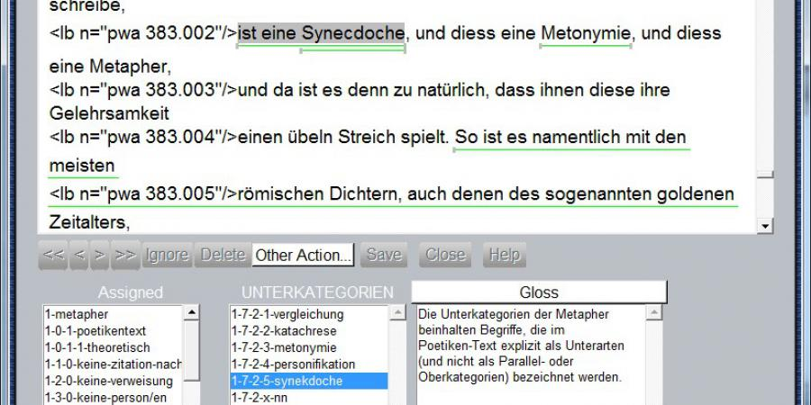 Abb. 5: Kollaborativ-diskursive Kommentierung von                        Zweifelsfällen und Formulierung von Annotationsrichtlinien im                           UAM-Corpus-Tool (eigene Darstellung, 2015).