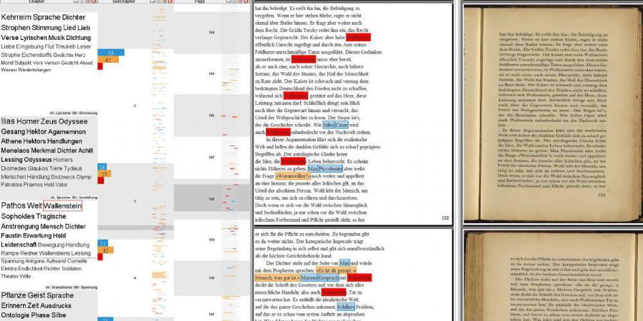 Emil Staigers Grundbegriffe der Poetik dargestellt im Varifocal Reader (von links nach rechts)                        als Wortwolke (häufigste Wörter) zu Kapiteln, Balkendiagramme und                        Piktogramme zu Unterkapiteln, Seitenansichten und Faksimiles (eigene                        Darstellung, 2015).