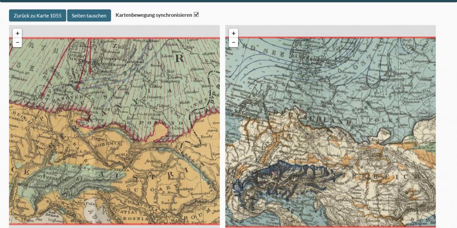 Abb. 4: Die Ausschnitte der                                         Eiszeitkarten von Hermann Habenicht von 1878 (rechts) und                                         James Geikie von 1881 (links) zeigen die Übernahme des                                         eiszeitlichen Grenzverlaufs sowie die von Habenicht                                         gemutmaßte Vergletscherung des Thüringer Waldes in der                                         Geikie'schen Karte. (© GlobMapLab / Autoren 2016)