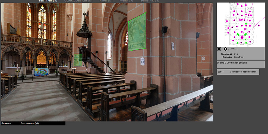 Abb. 4: Anzeige der Abfrage im                                 Panoramabild. Quelle: Martin Unold, i3mainz.