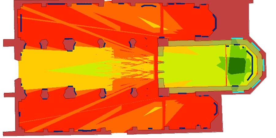 Viewshed-Analyse für die                                Lesbarkeit der Bauinschrift. Rötliche Farbtöne signalisieren eine                                geringe Zahl lesbarer Buchstaben vom jeweiligen Standpunkt,                                grünliche Farbtöne eine hohe Zahl. Quelle: i3mainz / Julia                                Ganitseva.