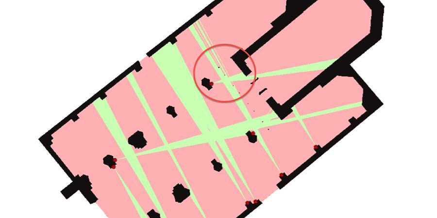 Abb. 6: Viewshed-Analyse für die                                 Lokalisierung des Lutern-Epitaphs mit Sichtfeldern der Grabfigur.                                 Quelle: i3mainz / Julia Ganitseva.