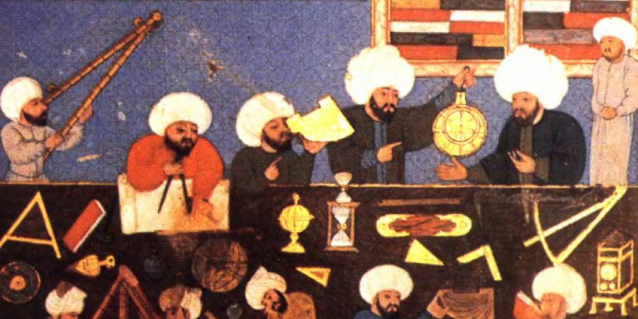 Astronomen bei der                                    Arbeit, aus dem Shāhanshāhī-nāmah (16.                                    Jh.), University Library Istanbul, MS No. FY 1404. Wiedergegeben                                    und zitiert nach: Seyyed Hossein Nasr, Islamic                                        Science. An Illustrated Study, World of Islam Festival                                    Publishing, 1976, S.113, Plate65 (etwaige Urheberrechte sind                                    zu beachten).