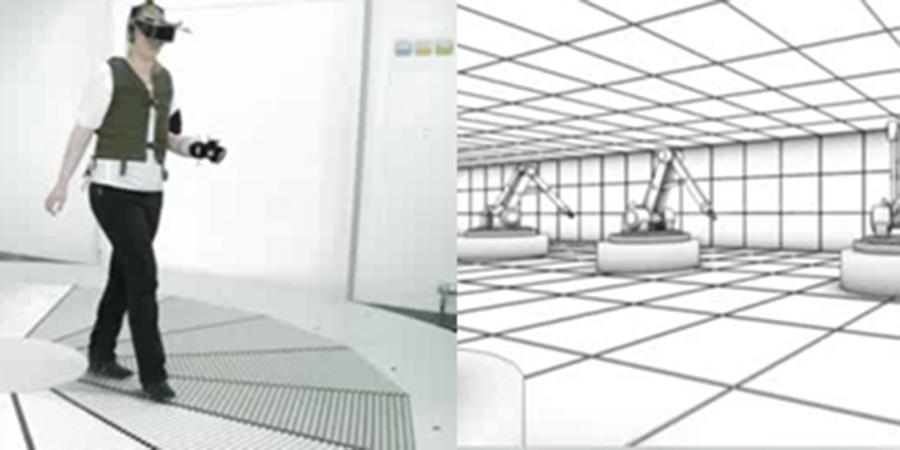 Abb. 1: Das Virtual Theatre mit Nutzerin und                             (vereinfachter) virtueller Umgebung (Foto: Walter Spanjersberg, 2013).