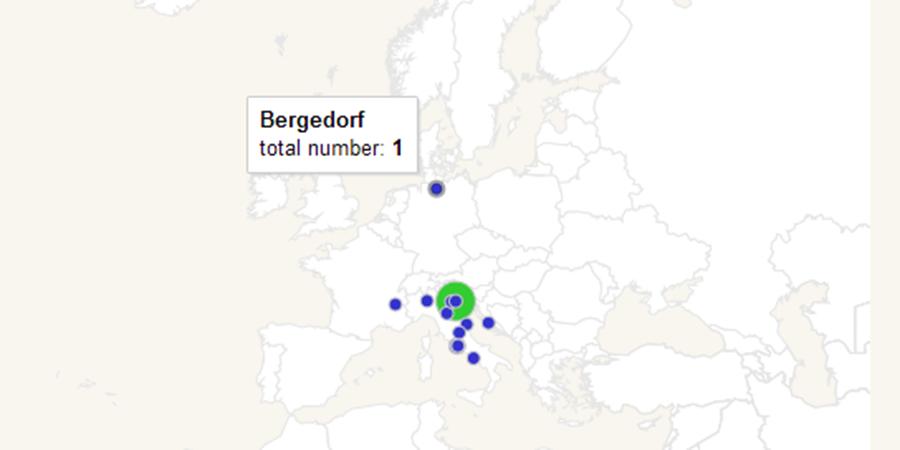 Abb. 6: Räumliche Verteilung aller Aspekte zu Venedig in der Musici-Datenbank.                    Das Hover-Beispiel (nördlichster Punkt) zeigt, dass es einen Datenbankeintrag zu                    Bergedorf gibt (der Geburtsort von Johann Adolf Hasse).Berti/zur Nieden/Roeder                        2013.