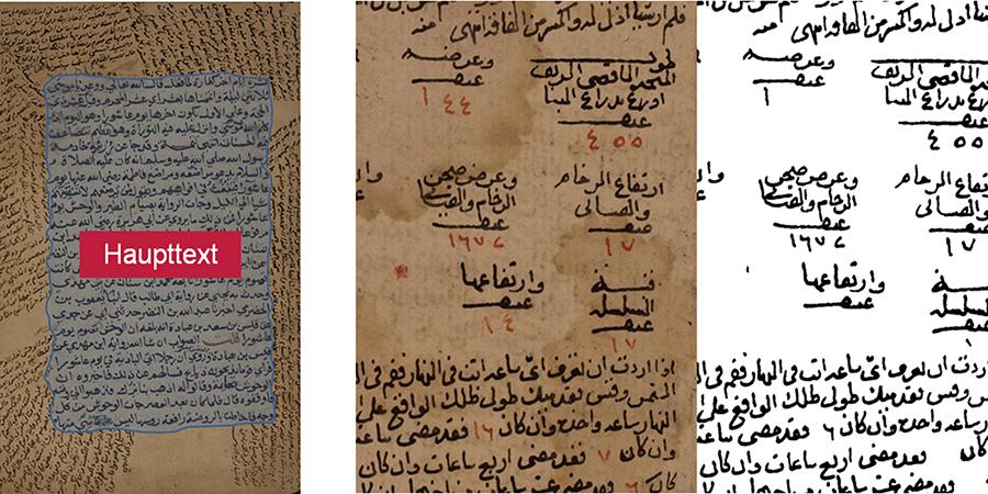 Seite eines arabischen, historischen                            Dokumentes mit Haupttext und vielen Kommentaren (links); Beispiel einer                            Segmentierung der Handschrift mit Hilfe einer Binarisierung: Teil eines                            Ausgangsbildes (Mitte) und binäres Ergebnisbild (rechts) (Quelle:                            Autoren).