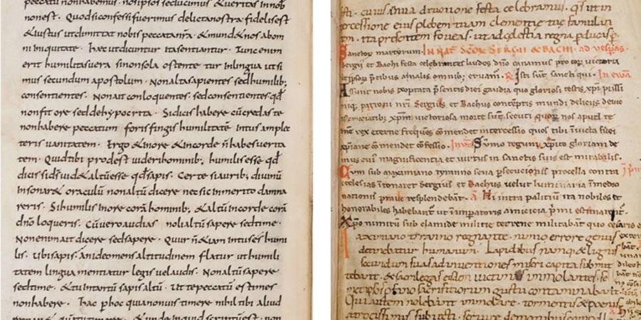 Seite 20 aus dem Manuskript 62 Weiss.                                des Hauptschreibers (links). Seite 209 aus dem Manuskript 62 Weiss. mit                                variierendem Schreiber aus den letzten Seiten des Manuskripts (rechts)                                (Quelle: Autoren).