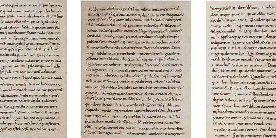 Seite 94 aus Manuskript 63 Weiss. des                                Schreibers A (links). Seite 187 aus Manuskript 63 Weiss. des Schreibers B                                (Mitte). Seite 248 aus Manuskript 63 Weiss. des Schreibers C (rechts)                                (Quelle: Autoren).