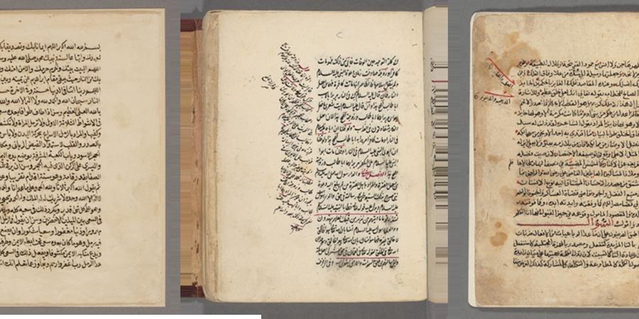 Seiten von drei Manuskripten aus                                der Harvard Islamic Heritage                                    Database(Quelle: Autoren).