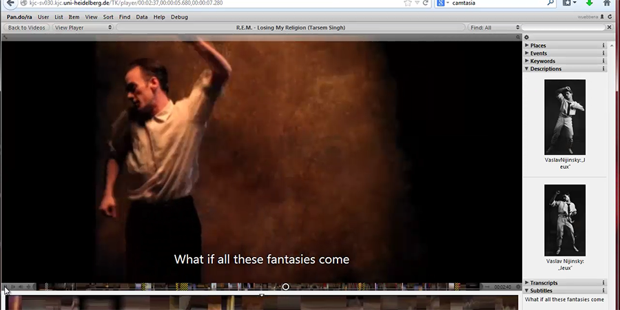 Abb. 9a-b: Einbettung: Abbildungen                                     des Tanzes von V. Nijinsky zu Jeux.                                     Quelle: HRA, KGI (Frankfurt/Main), Warner Bros., erstellt am                                     12.10.2014.