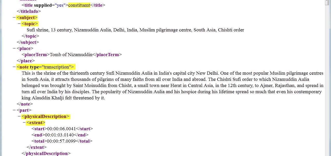 Beispiel einer Annotation in                                    MODS. Screenshot, erstellt am 30.10.2014, © HRA, CC-Lizenz 0.