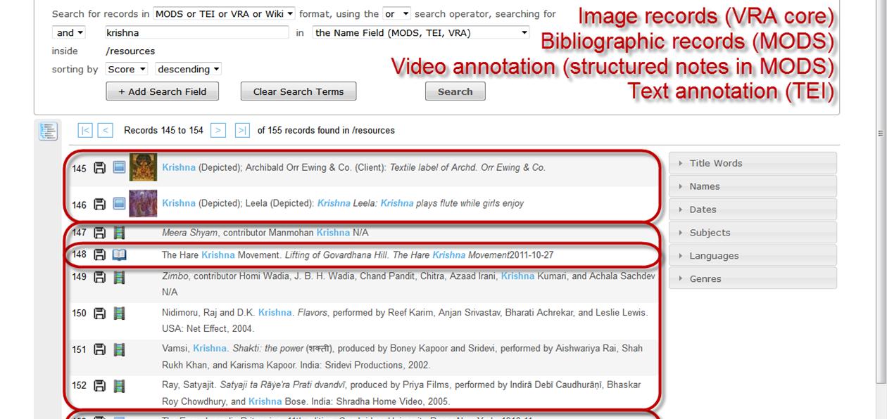 Eine Tamboti-Suche nach                                    ›Krishna‹ ergibt Treffer in verschiedenen Medien und                                    Datenformaten: Bildmetadaten (VRA Core 4), bibliographische                                    Daten (MODS), Videoannotationen (related items in MODS),                                    Textannotationen (TEI). Screenshot, erstellt am 30.10.2014, ©                                    Arnold, CC-Lizenz 0.