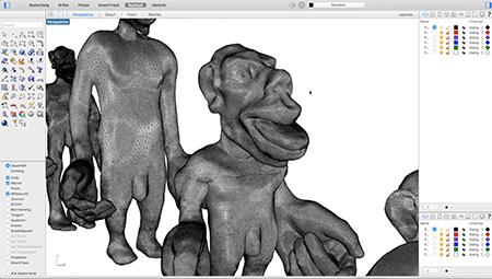 Abb. 2: Computerbasierte Erzeugung und geometrische                 Manipulation der Homunkulus-Figuren in der Computer-Aided-Design-Umgebung Rhinoceros                 3D. [Braun / Willmann 2021]