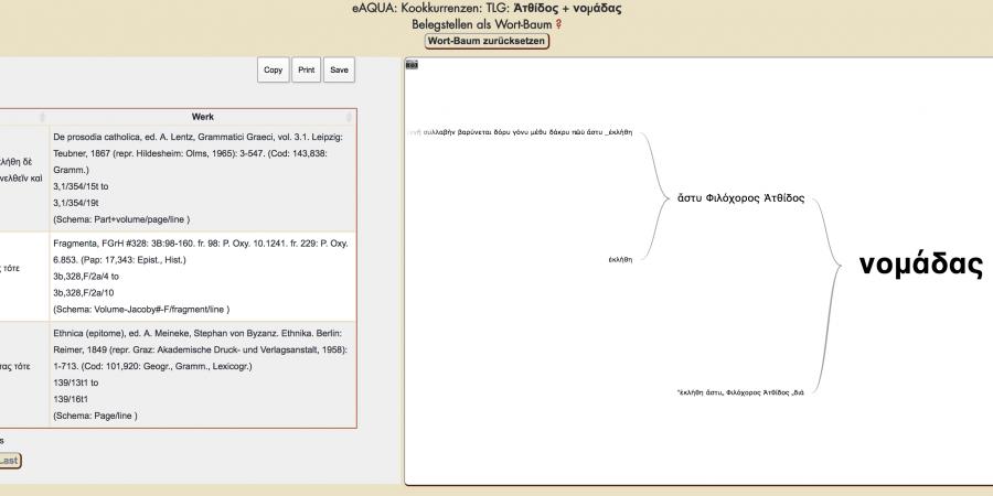 Abb. 4: Quellenbelege für die Kookkurrenz                                 Ἀτθίδος und νομάδας aus der Kookkurrenzsuche des Suchworts Ἀτθίδος,                                 Wortbaum zu νομάδας.