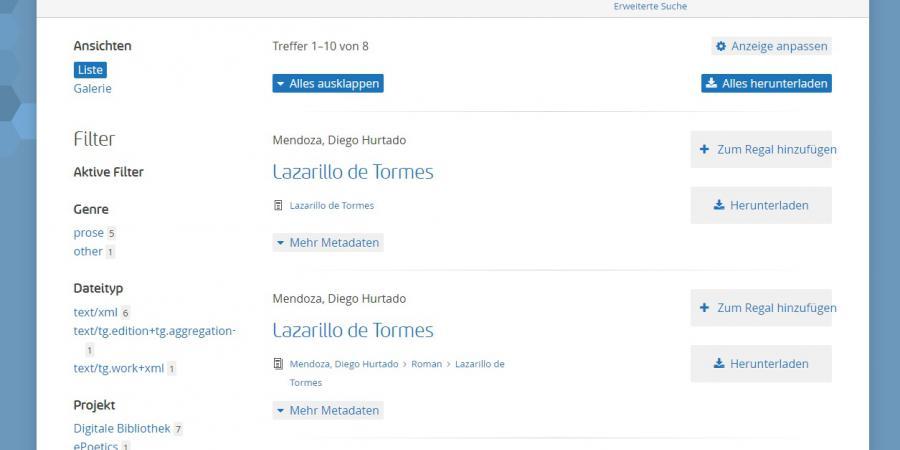 Abb. 2: Fensteransicht der Suchabfrage                                        Lazarillo in TextGrid Repository.