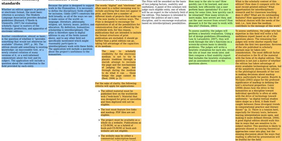 Abb. 5: Kriterien zur Bewertung digitaler                                 Editionen nach Yates mit farblich hinterlegten Kriteriengruppen.