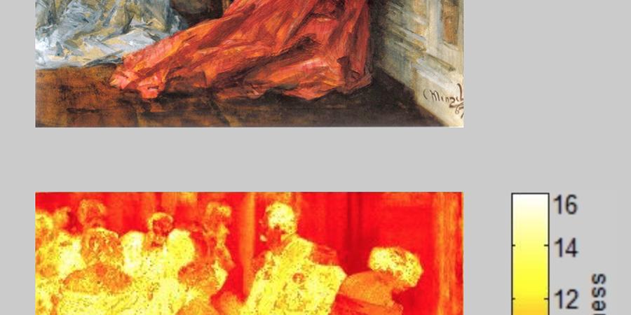 Abb. 7: Oben: Adolph Menzel, Ballszene, 1867, Pinsel, Deckfarbe, 26,5 x 30                                cm, Schweinfurt, Museum Georg Schäfer, Quelle: Adolph Menzel. Radikal real. Kat. Ausst. Kunsthalle der                                Hypo-Kulturstiftung München und Kupferstichkabinett der staatlichen                                Museen zu Berlin. Hg. von Bernhard Maaz. München 2008, S. 199,                                unten: Spektralanalyse, Lab-Farbraum, Software Redcolor-Tool, HCI ©                                Pippich 2014.
