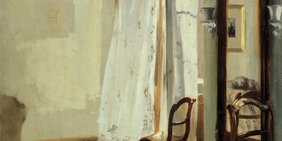 Abb. 8: Adolph Menzel, Balkonzimmer, 1845, Öl auf Pappe, 58 x 47 cm, Berlin,                                Nationalgalerie, Quelle: Adolph Menzel 1815–1905.                                Das Labyrinth der Wirklichkeit. Kat. Ausst. Nationalgalerie Berlin.                                Hg. von Claude Keisch und Marie-Ursula Riemann-Reyher. Köln 1996, S.                                91.