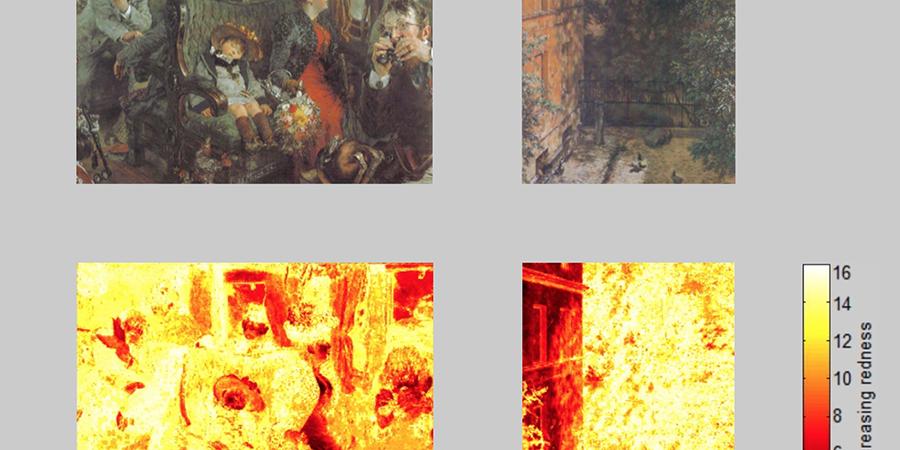 Abb. 18: Oben (von links) Adolph Menzel,                                    Auf der Fahrt durch schöne Natur, 1892,                                Deckfarben auf Papier, 27,7 x 37,2 cm, Privatsammlung, Quelle: Menzel –                                    der Beobachter. Kat. Ausst. Kunsthalle Hamburg. Hg. von                                Werner Hofmann. München 1982, S. 280, Adolph Menzel, Blick in einen kleinen Hof, 1867, Wasser- und                                Deckfarben auf Papier, 28 x 22 mm, Berlin, Nationalgalerie, Quelle:                                    Menzel                                    – der Beobachter. Kat. Ausst. Kunsthalle Hamburg. Hg. von                                Werner Hofmann. München 1982, S. 171, unten: Spektralanalysen                                (Lab-Farbraum, Software Redcolor-Tool, HCI) – die Bilder im Korpus                                mit maximalen Messwerten in beiden Skalenextremen © Pippich 2014.