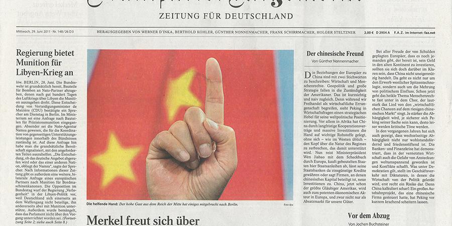 Abb. 22: Frankfurter Allgemeine Zeitung,                                Cover vom 29.06.2011, Wen Jiabao © dpa 2011.