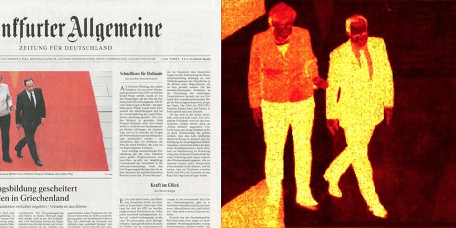 Abb. 23: Frankfurter Allgemeine Zeitung,                                Cover vom 16.05.2012, Angela Merkel und François Hollande © dapd                                2012, und Rotspektralanalyse (Lab-Farbraum, Software Redcolor-Tool,                                HCI) © Ommer/Pippich 2012.