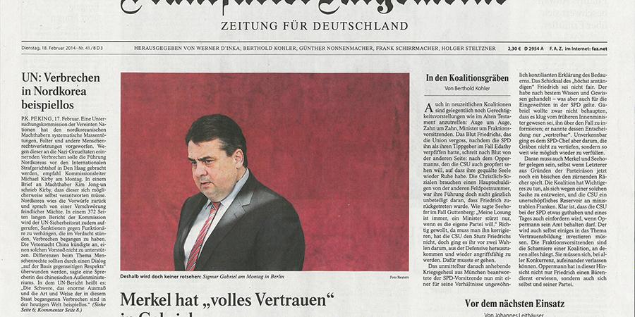 Abb. 25: Frankfurter Allgemeine Zeitung,                                 Cover vom 28.02.2014, Sigmar Gabriel © Reuters 2014.