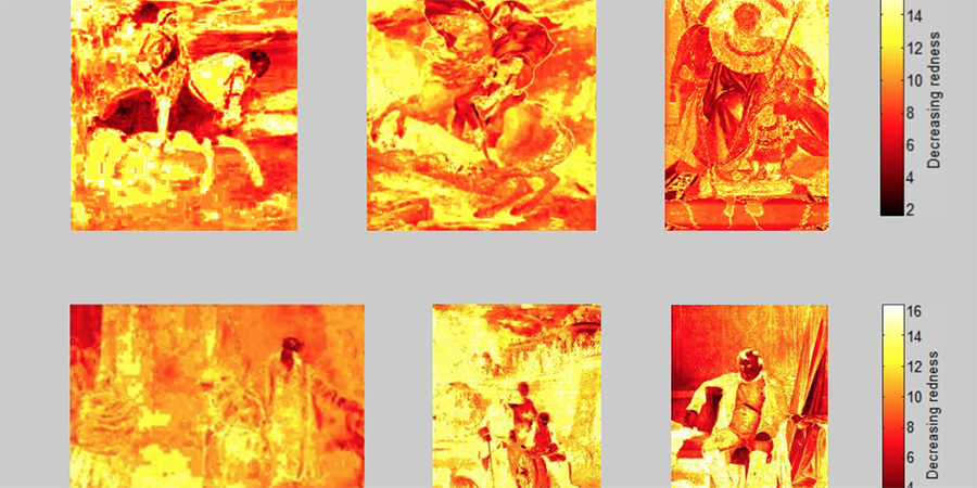 Abb. 28: Rotspektralanalysen, oben (von                                 links): Tizian, Karl V. nach der Schlacht bei                                     Mühlberg, 1548; Jacques Louis David, Napoleon beim Überschreiten des Großen St. Bernhard, 1802;                                 Auguste Dominique Ingres, Napoleon auf dem                                     Thron, 1806; unten (von links): Adolph Menzel, Platz für den großen Raffael, 1859; Adolph                                 Menzel, Friedrich der Große und General                                     Fouqué, 1852; Paul Delaroche, Napoleon am                                     31. März 1814 in Fontainebleau, 1845 (Messtechnologie:                                 Lab-Farbraum, 16 Farbklassen-Modell, Software Redcolor-Tool, Ommer                                 Lab, HCI) © Ommer/Pippich 2012.