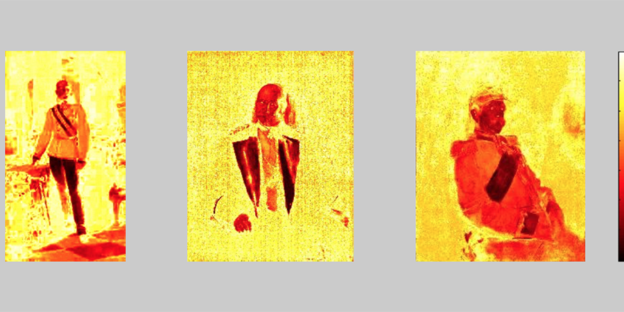 Abb. 29: Rotspektralanalysen (von links):                                 Franz Lenbach, Franz Joseph I., 1873, Franz                                 Lenbach, Wilhelm I., 1887, Franz Lenbach, Bismarck, 1890 (Messtechnologie:                                 Lab-Farbraum, 16 Farbklassen-Modell, Software Redcolor-Tool, Ommer                                 Lab, HCI) © Ommer/Pippich 2012.