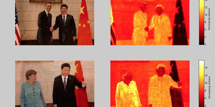 Abb. 30: Renmin Ribao, Cover vom                                07.09.2013, Barack Obama und Xi Jinping © Peng Ju 2013, Angela                                Merkel und Xi Jinping © Jingwen Huang 2013, und Rotspektralanalysen                                (Lab-Farbraum, Software Redcolor-Tool, HCI) © Pippich 2013.