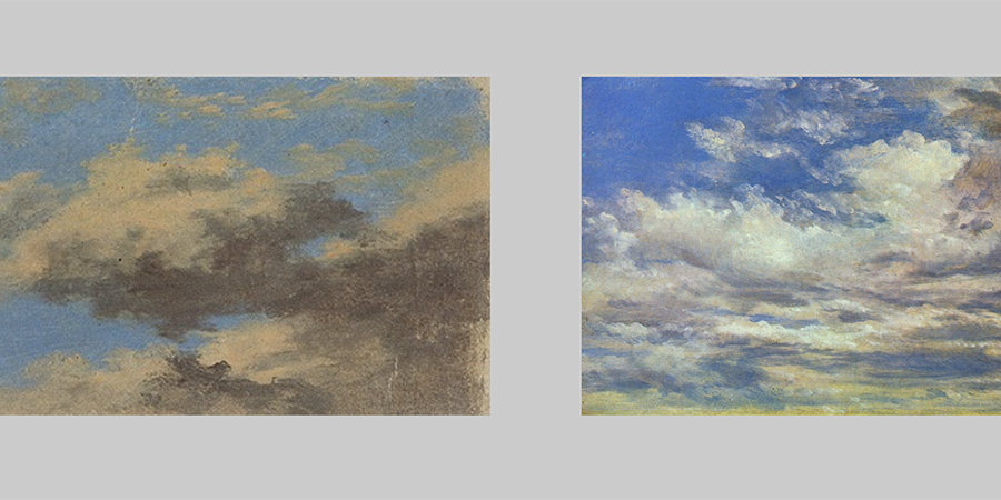 Abb. 33: Carl Blechen, Wolken bei Tage mit blauem Himmel, um 1823, Öl auf Papier,                                 10,8 x 19,8 cm, Staatliche Museen zu Berlin, Kupferstichkabinett                                 (links) Quelle: Goethe und die Kunst. Kat. Ausst. Schirn Kunsthalle                                 Frankfurt, Kunstsammlungen zu Weimar. Hg. von Sabine Schulze.                                 Stuttgart 1994, S. 557, John Constable, Clouds 5                                     September 1822, 1822, Öl auf Papier, 37 x 49 cm, National                                 Gallery of Victoria, Melbourne (rechts) Quelle: Constable,                                     Impressions of Land, Sea and Sky. Kat. Ausst. National                                 Gallery of Australia. Hg. von Anne Gray / John Gage. London 2006, S.                                 177.