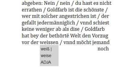 Abb. 4: Annotierung von abrahamischen                            Wortspielen – eine Wortform, zwei Lesarten © ACDH.