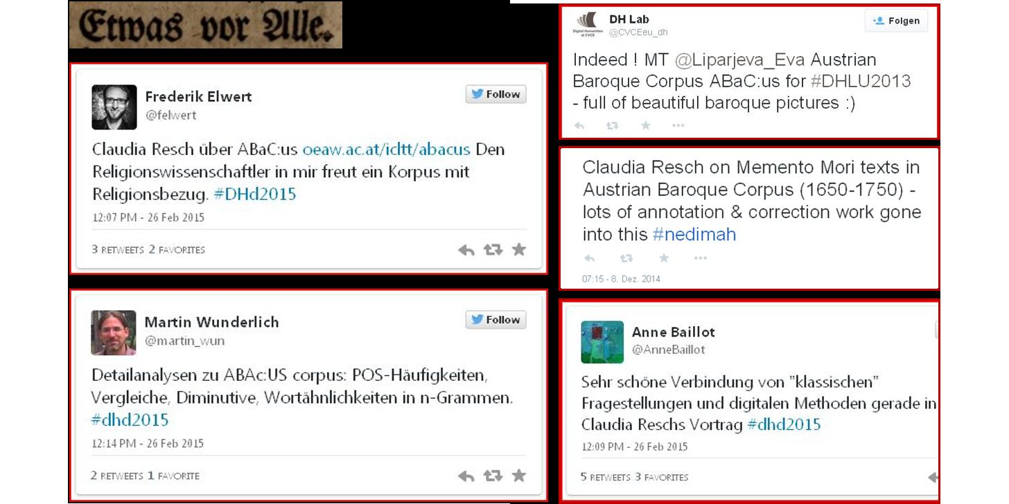 Abb. 9: Tweets als erste Reaktionen auf die ABaC:us-Edition, Eigene Darstellung © ACDH.