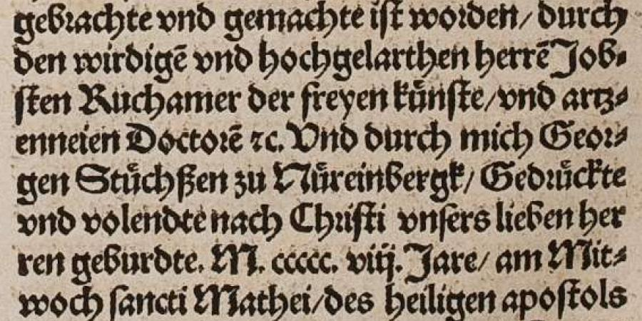 Abb 3:  Kolophon - Newe                           vnbekanthe landte. HAB-Signatur: A: 156.10 Quod. 2° (2).                        Digitalisat-PURL: http://diglib.hab.de/drucke/156-10-quod-2f-2s/start.htm?image=00128