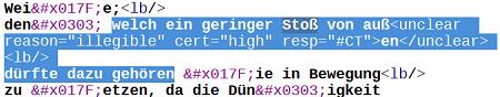 Abb. 4: Das unclear-Beispiel in der XML-Ansicht des DTA. [Kasper /                               Kuczera 2019.]