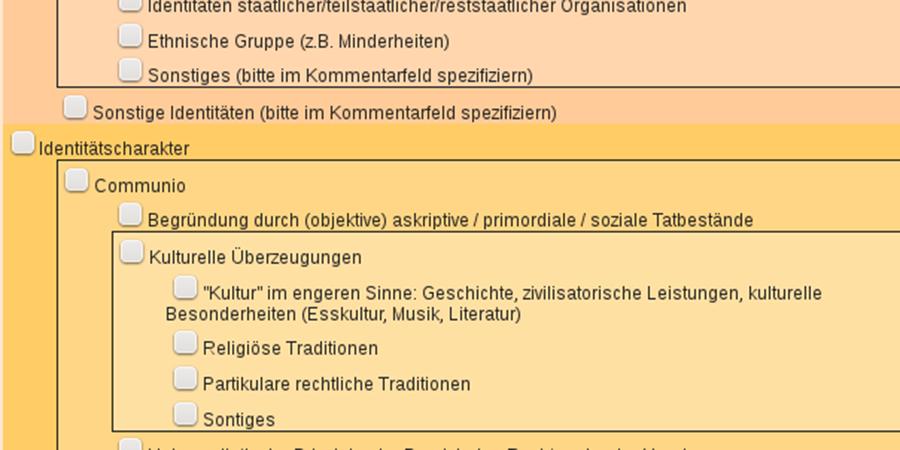 Abb. 6: Die Benutzerschnittstelle für                                    die politikwissenschaftliche Kodierung/Annotation (Quelle:                                    Eigene Darstellung).