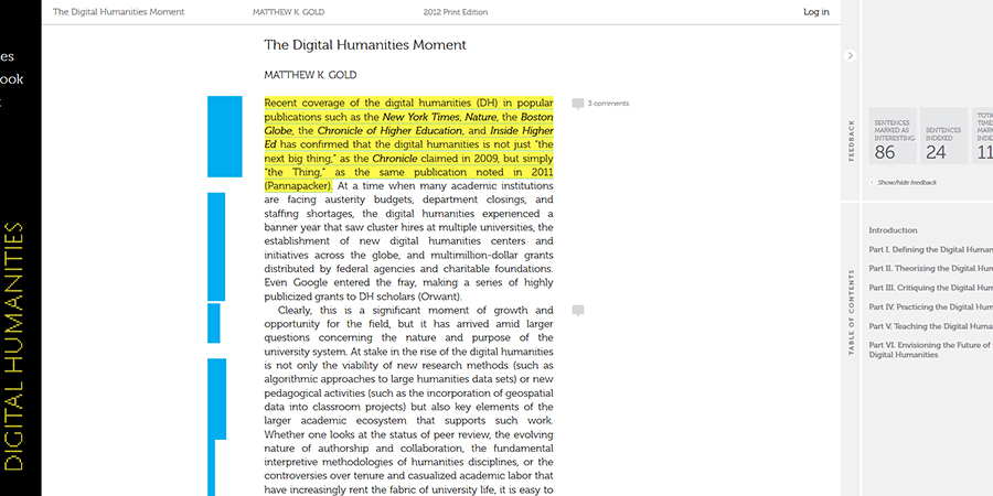 Abb. 1: Die Expanded Open Access-Edition                                 des Buches Debates in the                                     Digital Humanities. Auszug aus: Matthew K. Gold: The                                 Digital Humanities Moment.