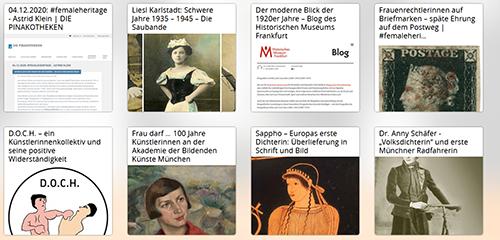 Abb. 3: Ausschnitt aus einer                                     Zusammenstellung der knapp 200 Blogartikel, die im Kontext der                                     #femaleheritage-Blogparade entstanden sind. [Praske                                         2021]